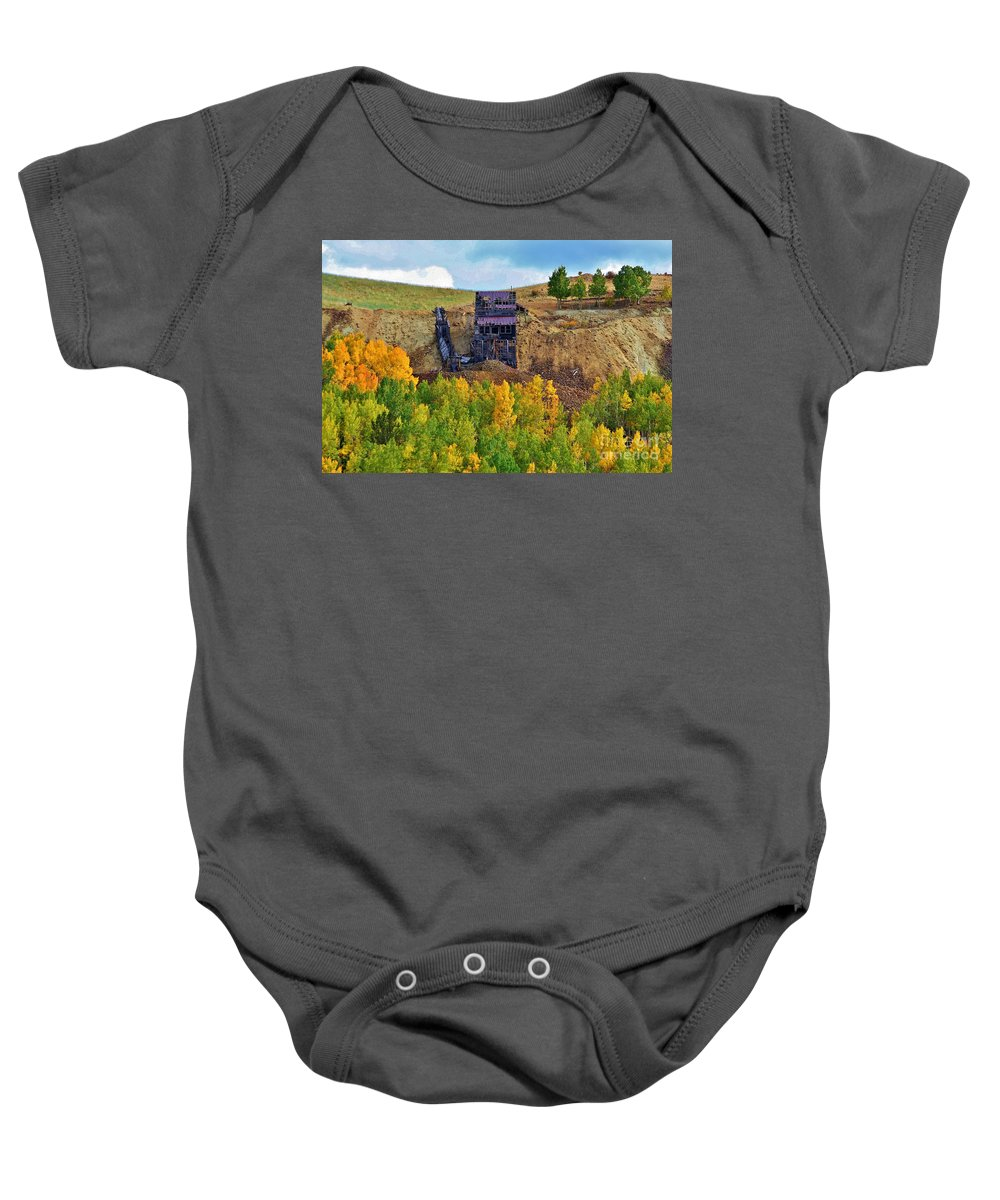 Mine Baby Onesie featuring the photograph Old Cripple Creek Mine by Ellen Heaverlo