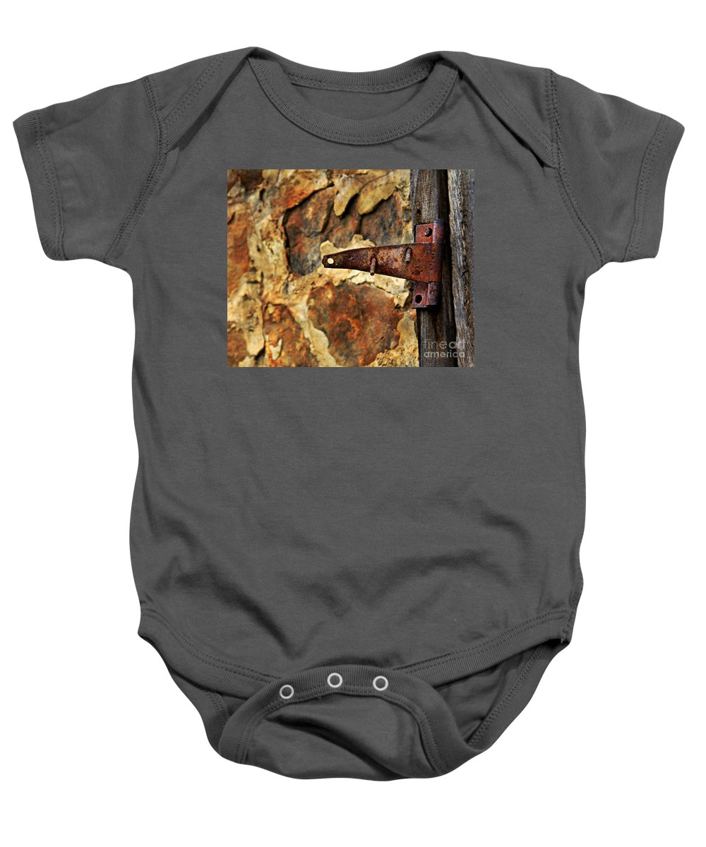 Hinge Baby Onesie featuring the photograph Old Door Hinge by Perry Webster