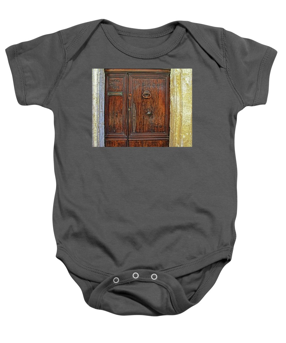 Old Door Baby Onesie featuring the photograph Old Door Study Provence France by Dave Mills