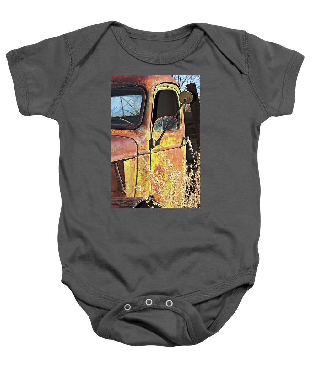 Truck Baby Onesie featuring the photograph Old Green Truck Door by Phyllis Denton