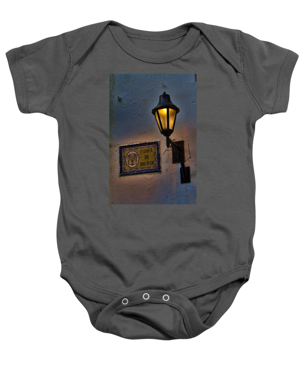 Cartagena Baby Onesie featuring the photograph Old Lamp On A Colonial Building In Old Cartagena Colombia by David Smith