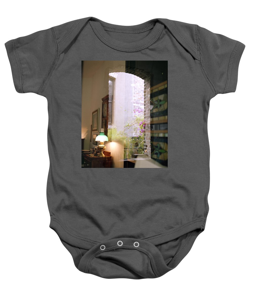 old Market Baby Onesie featuring the photograph Old Market Reflections by John Bowers