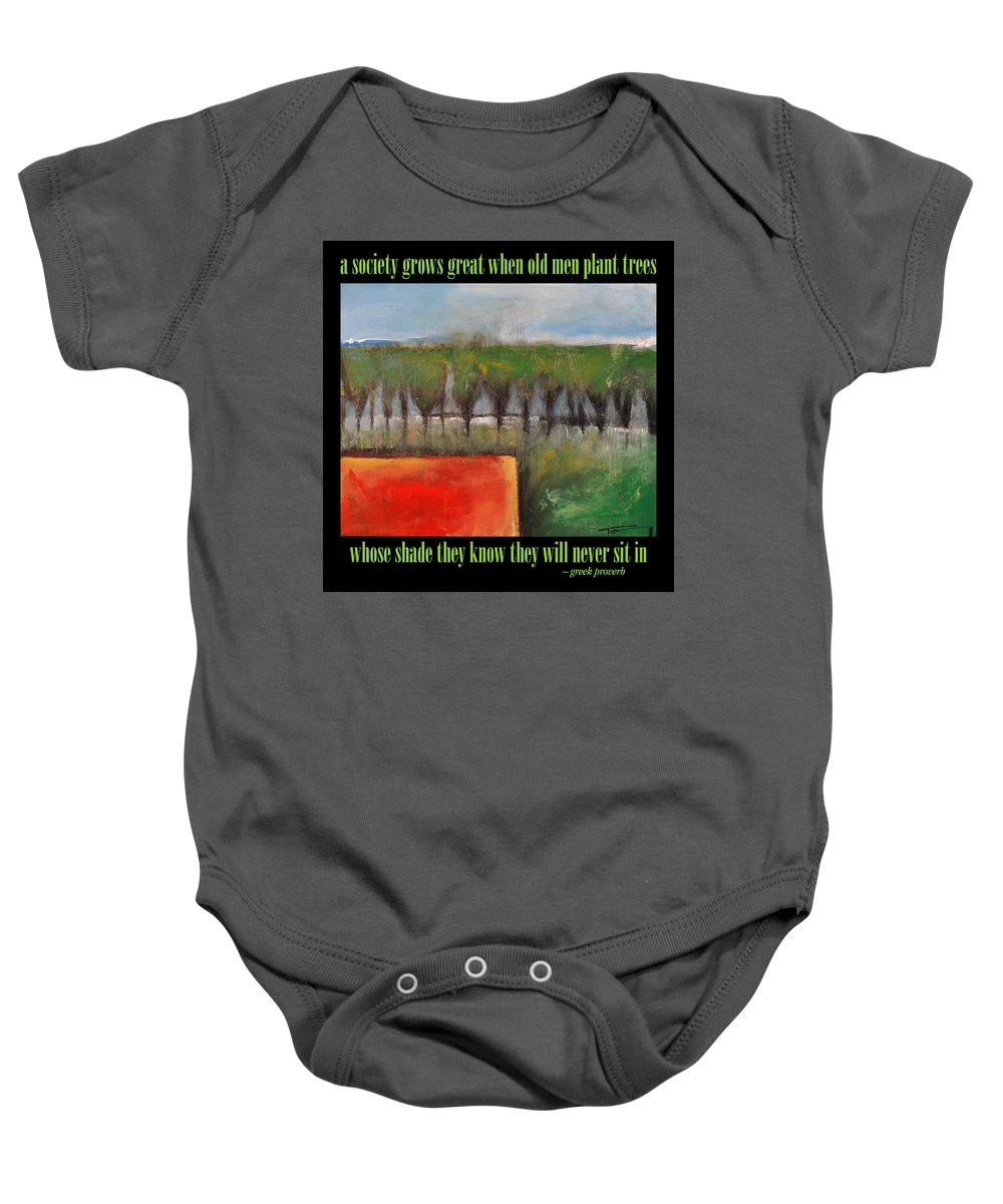 Trees Baby Onesie featuring the painting Old Men Plant Trees Poster by Tim Nyberg