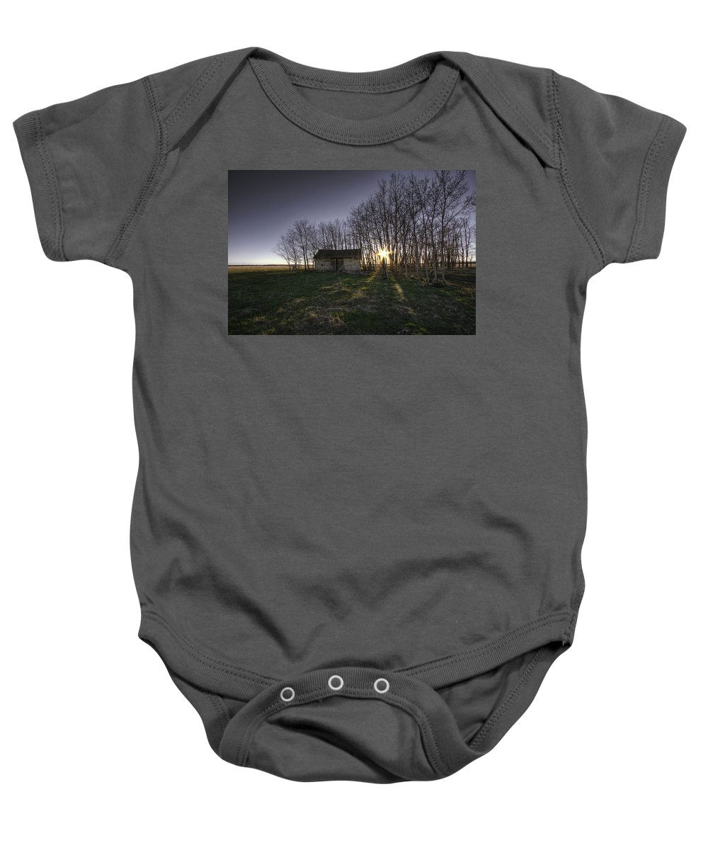 Bare Baby Onesie featuring the photograph Old Prairie Homestead At Sunset by Dan Jurak