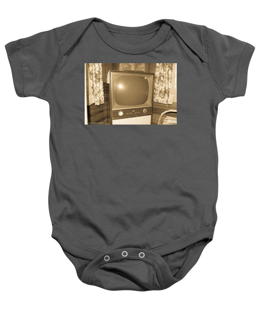 Old Tv Baby Onesie featuring the photograph Old Television by Shannon Harrington