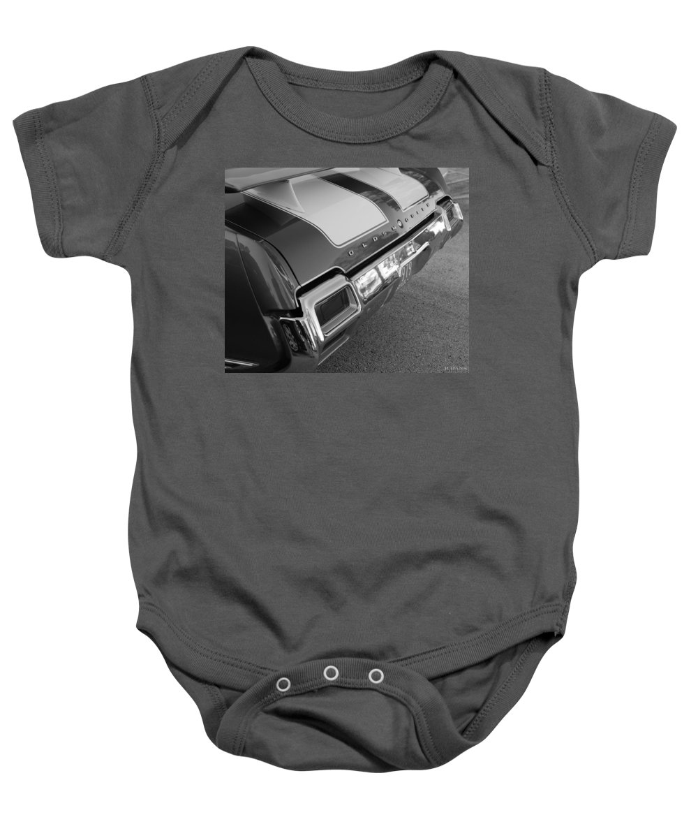 Oldsmobile Baby Onesie featuring the photograph Olds Cs In Black And White by Rob Hans