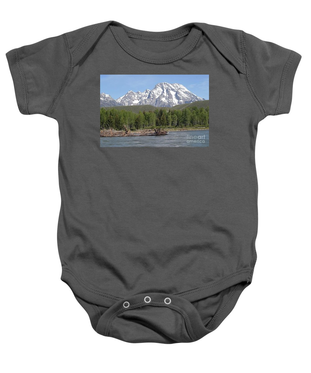 Grand Tetons Baby Onesie featuring the photograph On The Snake River by Living Color Photography Lorraine Lynch