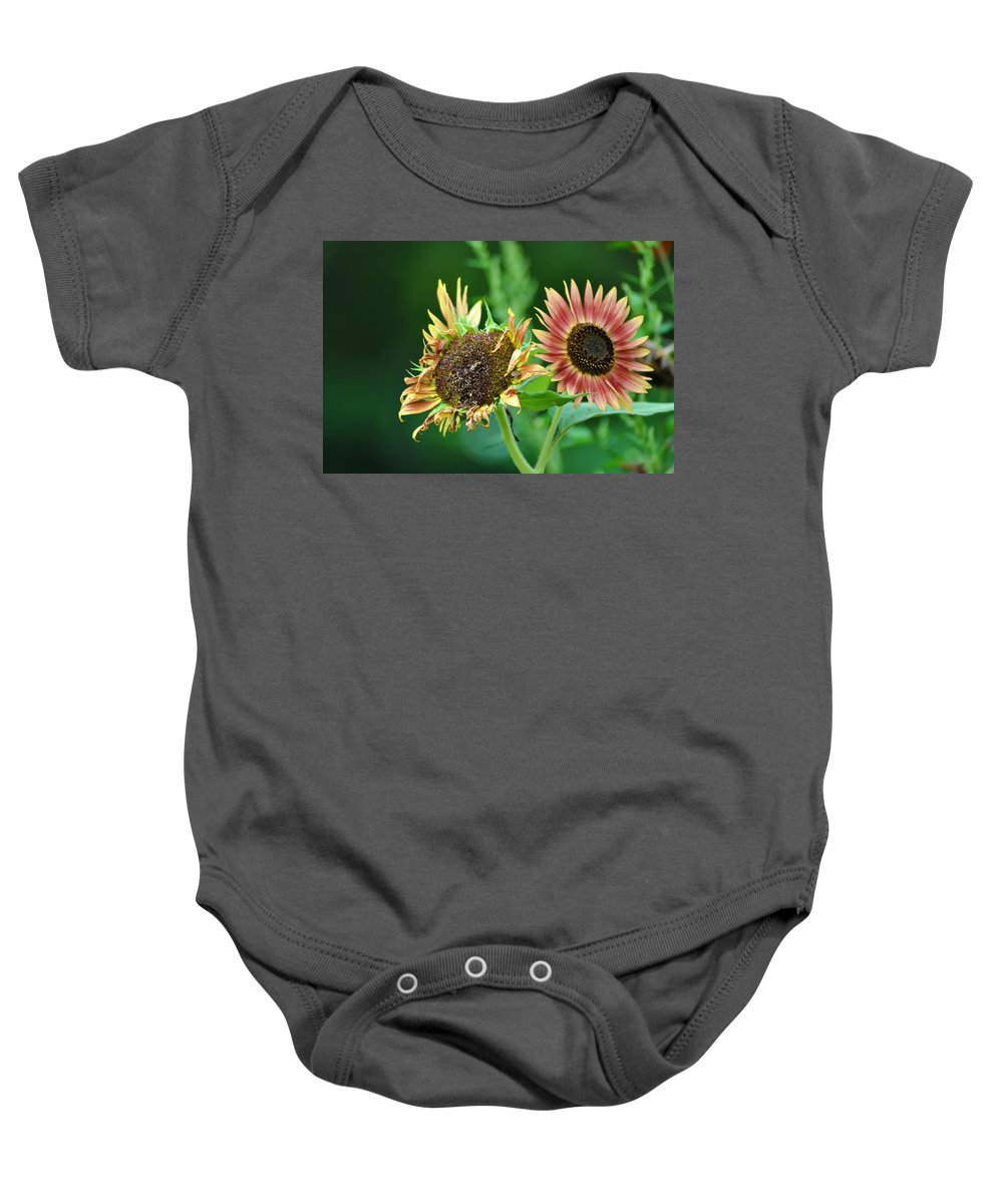 Sunflower Baby Onesie featuring the photograph One Is A Little Worse For Wear by Bill Cannon