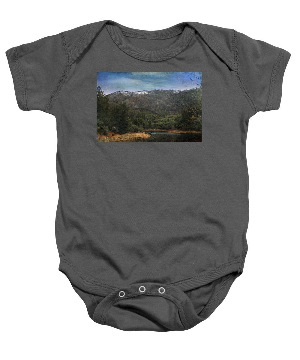 Whiskeytown Lake Baby Onesie featuring the photograph One Little Boat by Laurie Search