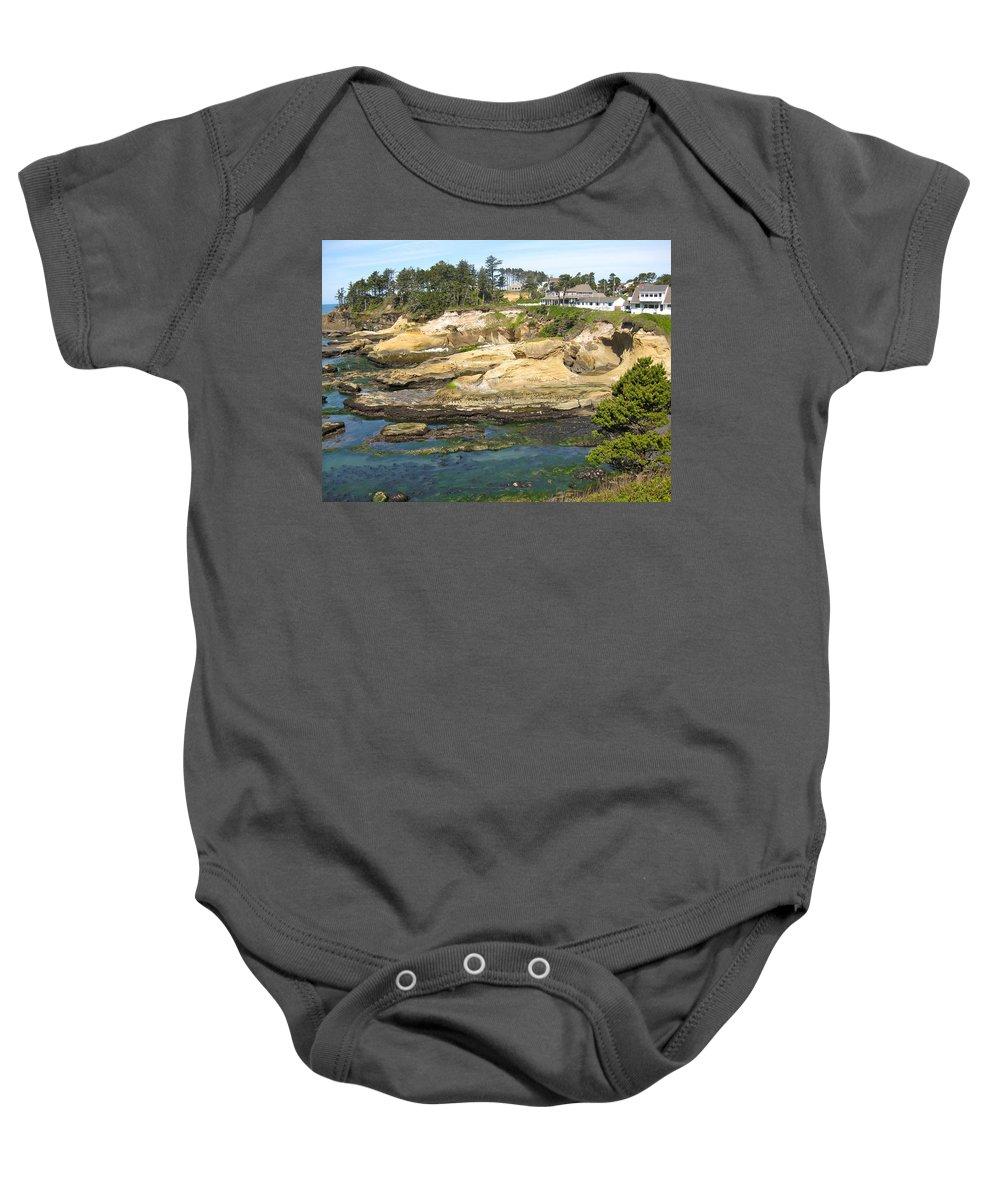Oregon Baby Onesie featuring the photograph Oregon Coastline by Linda Hutchins