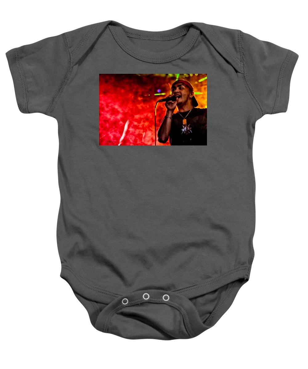 Music Baby Onesie featuring the photograph Out Of A Fiery Fog by Christopher Holmes