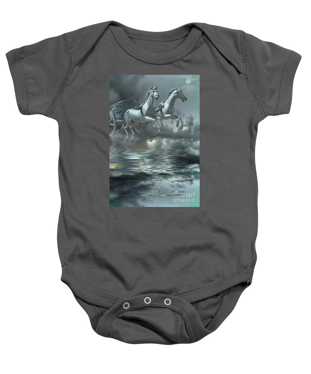 Horses Baby Onesie featuring the digital art Out Of The Mist by Peggy Starks