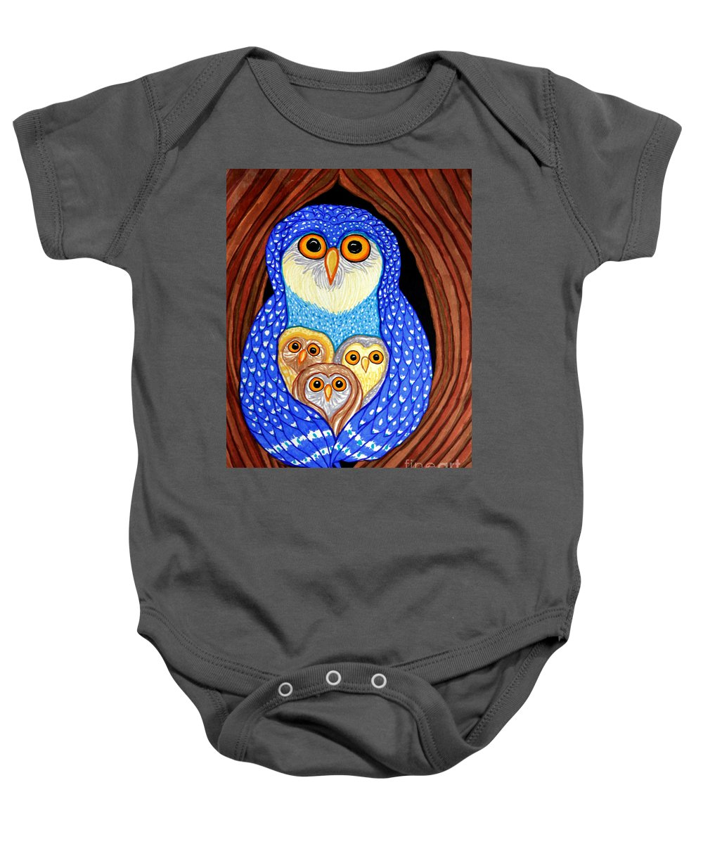 Owl Baby Onesie featuring the drawing Owl And Owlettes by Nick Gustafson