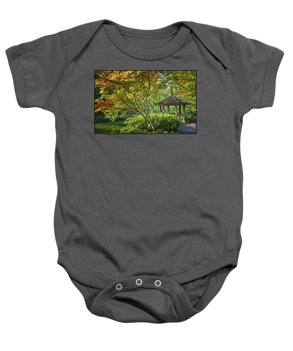 Architecture Baby Onesie featuring the photograph Painted Gardens by Joan Carroll