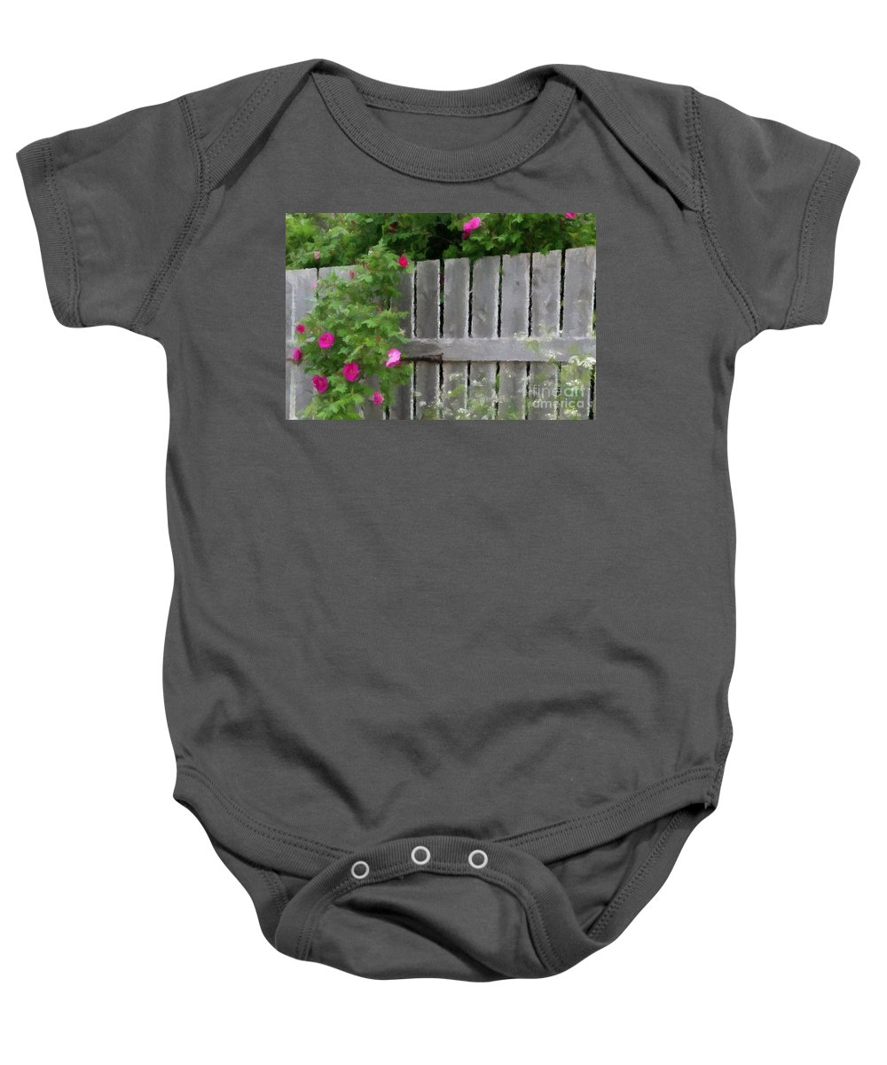 Fence And Roses Baby Onesie featuring the photograph Painterly Fence And Roses by Barbara Griffin
