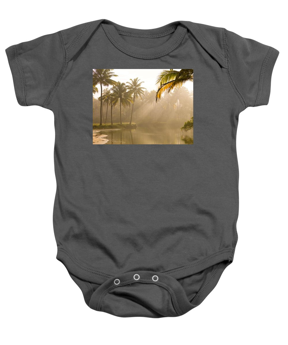 Body Of Water Baby Onesie featuring the photograph Palm Trees And Sunbeams, Kerala, India by Keith Levit