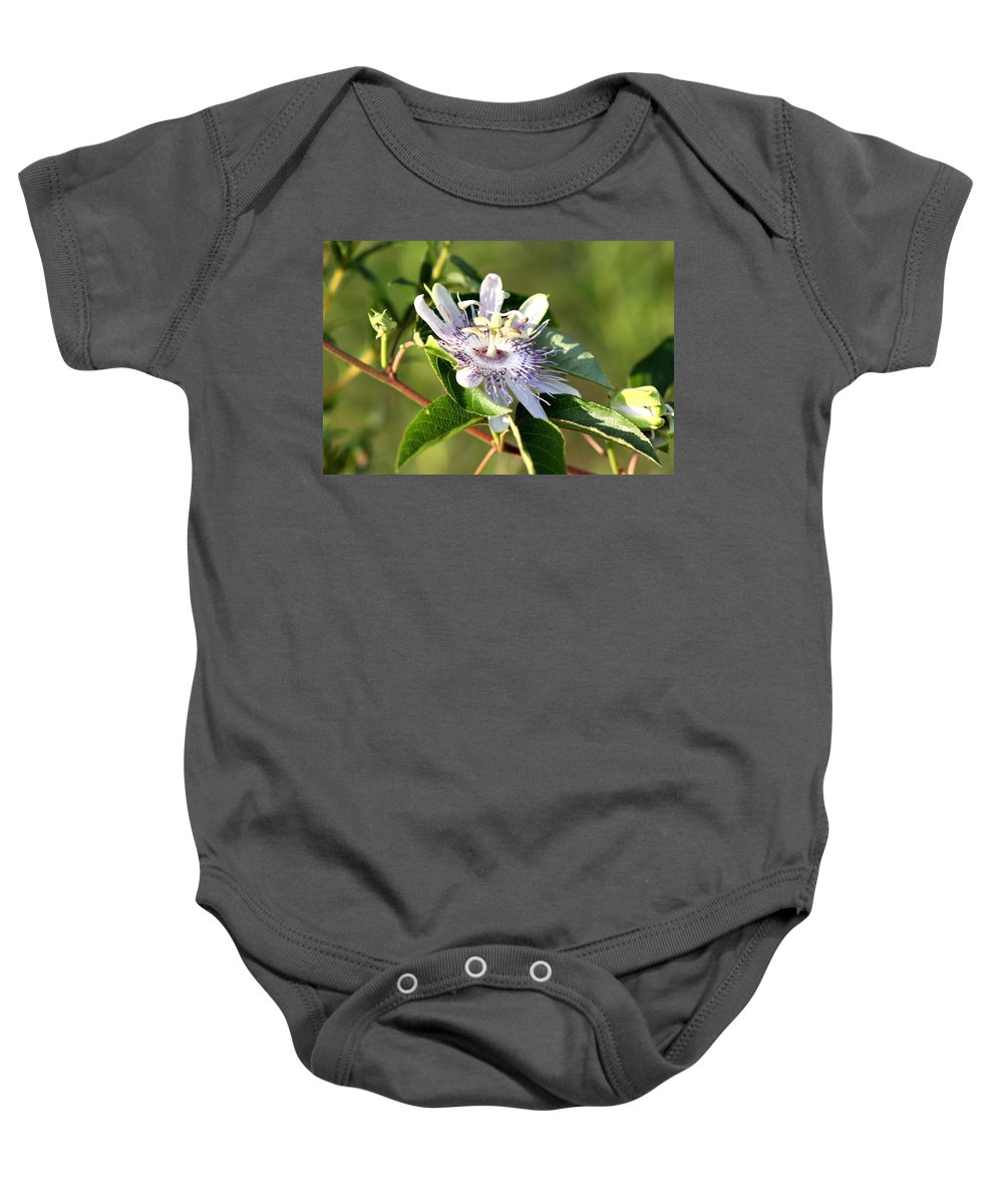 Passion Flower Baby Onesie featuring the photograph Passion Flower - May Pop Bloom by Travis Truelove