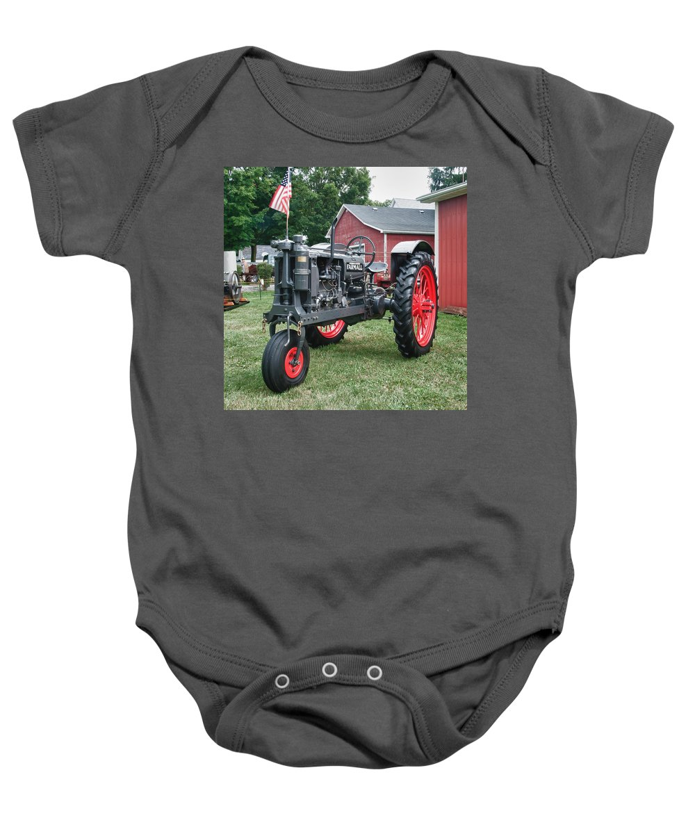Barn Baby Onesie featuring the photograph Patriotic Farmall by Guy Whiteley