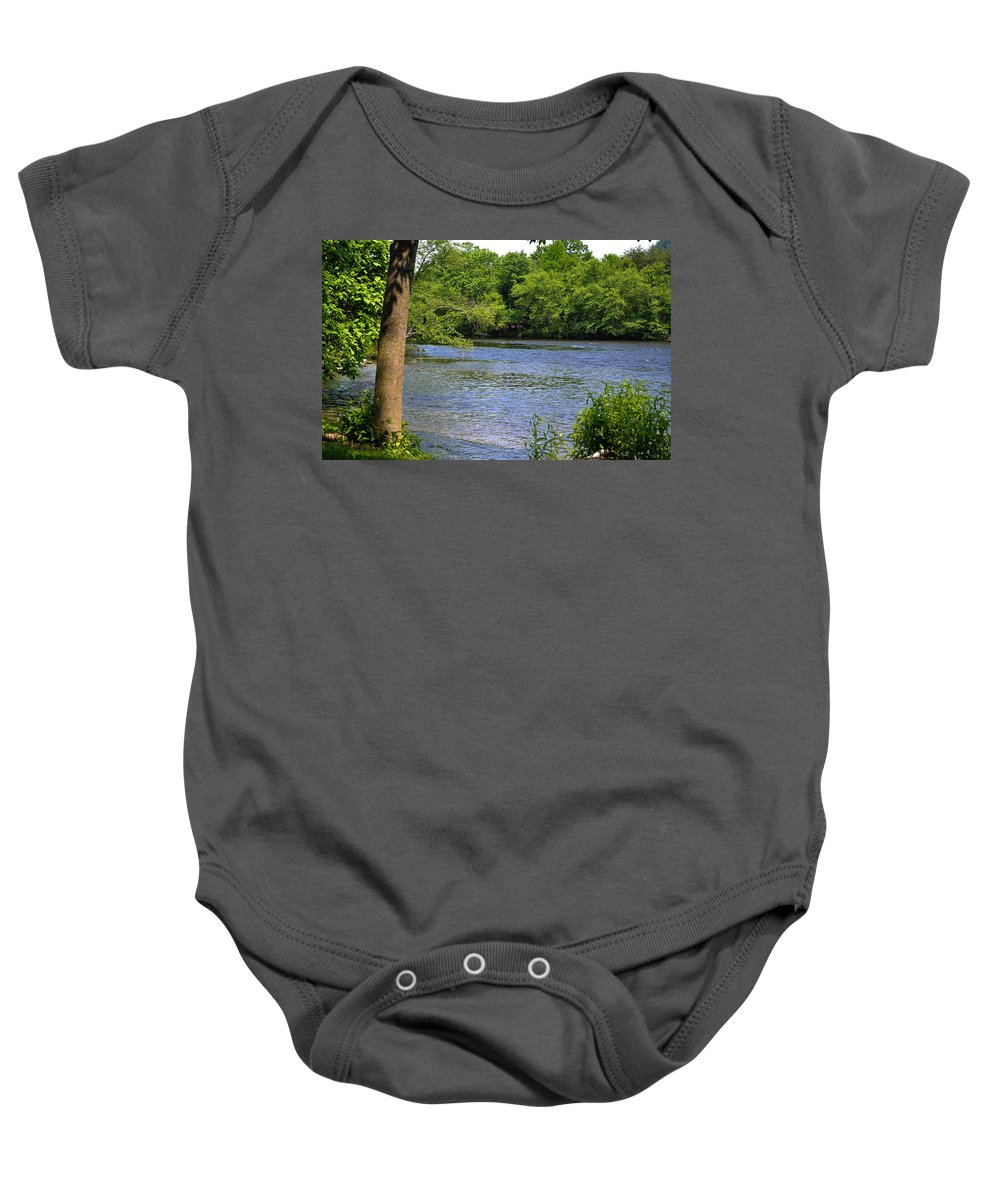 River Baby Onesie featuring the photograph Peaceful River by Wanda J King