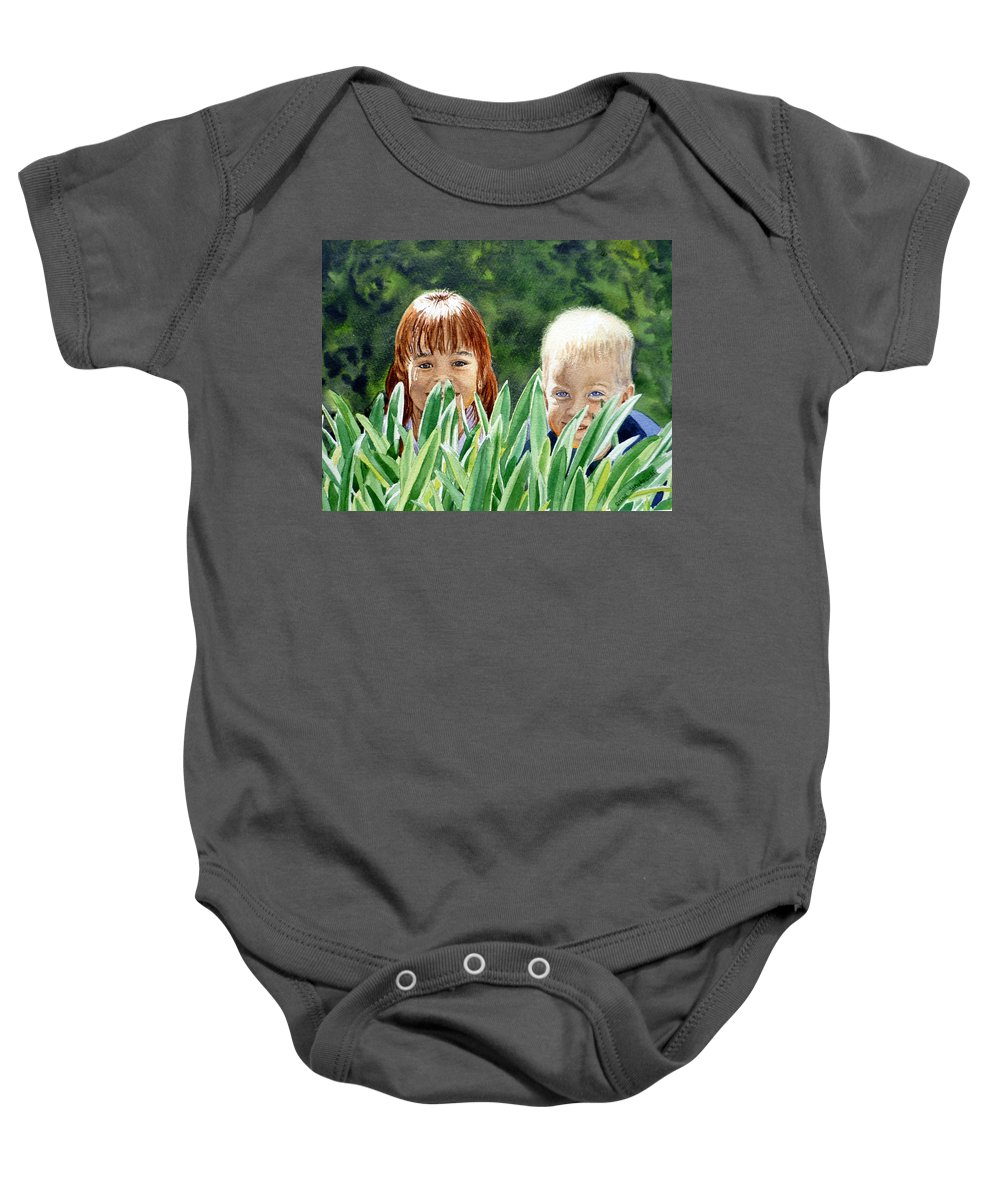 Kid's Portrait Baby Onesie featuring the painting Peekaboo by Irina Sztukowski