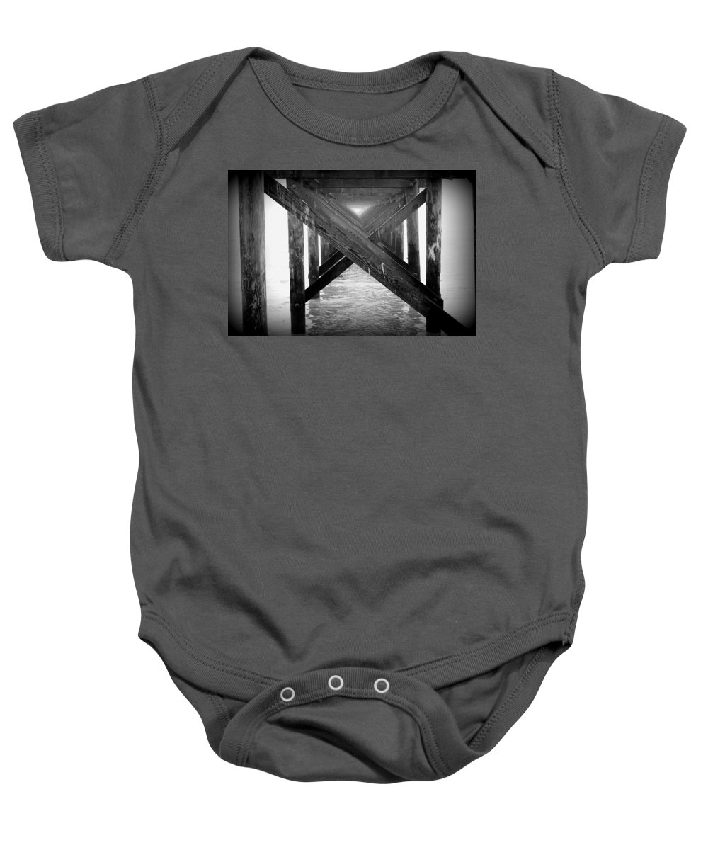 B&w Baby Onesie featuring the photograph Penthouse Pier by Beth Gates-Sully