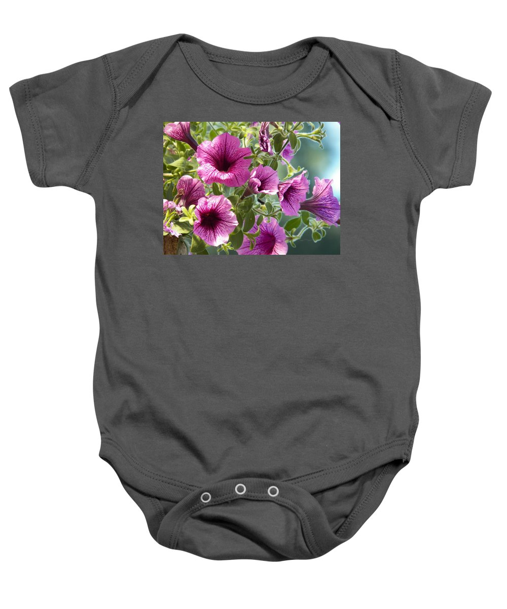 Digital Photograph Prints Baby Onesie featuring the photograph Petunias by Laurie Kidd