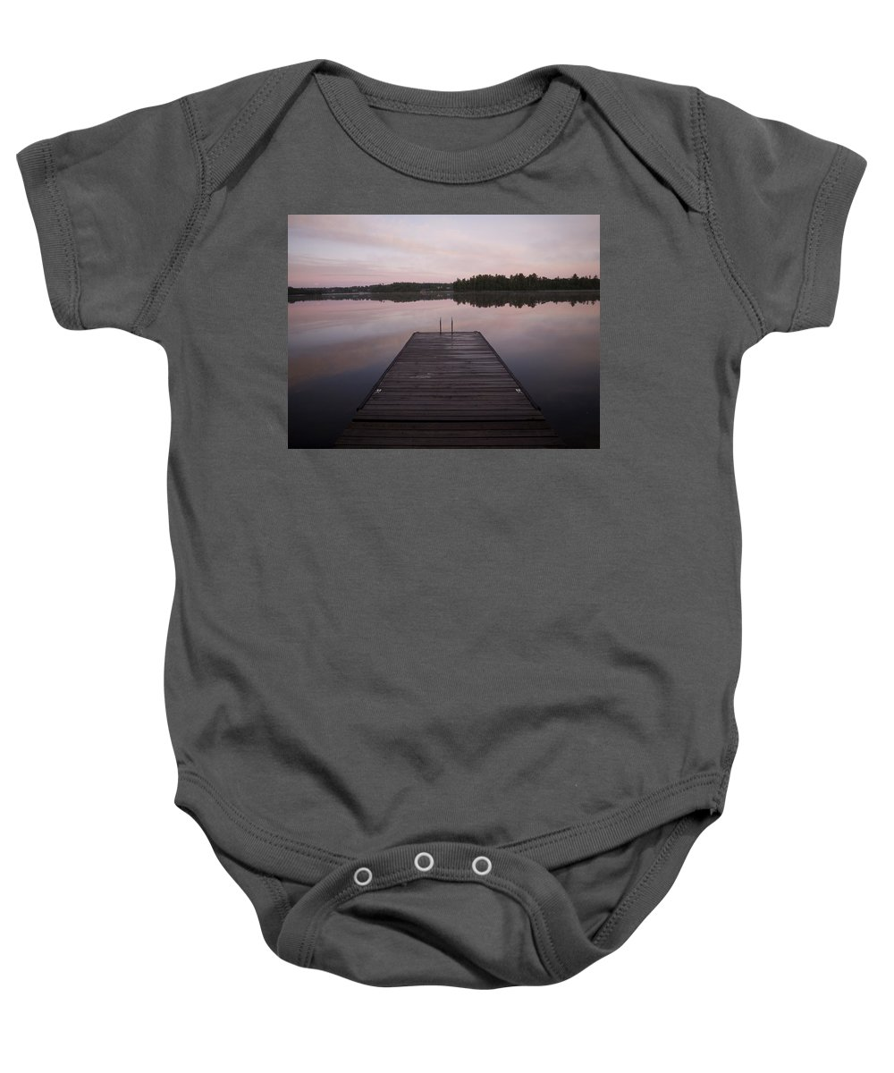 Canada Baby Onesie featuring the photograph Pier, Lake Of The Woods, Ontario, Canada by Keith Levit