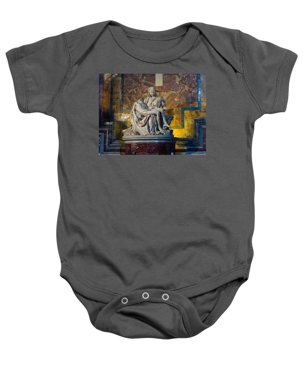 Pieta Baby Onesie featuring the photograph Pieta By Michelangelo Circa 1499 Ad by Jon Berghoff