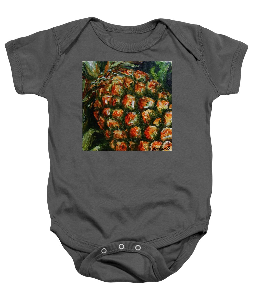 Fruit Baby Onesie featuring the painting Pineapple by Karen Ferrand Carroll