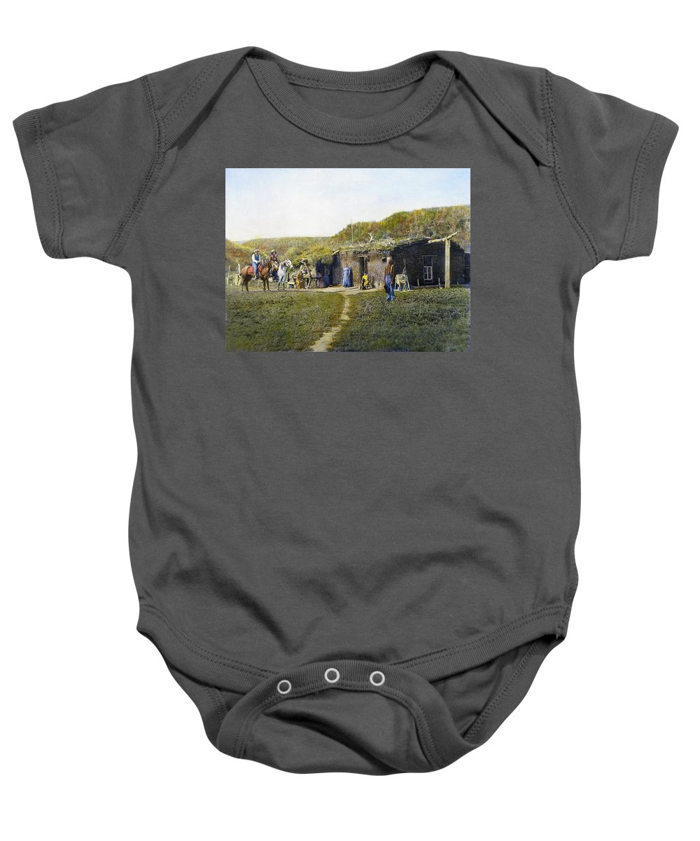 1887 Baby Onesie featuring the photograph Pioneers Sod House, 1887 by Granger