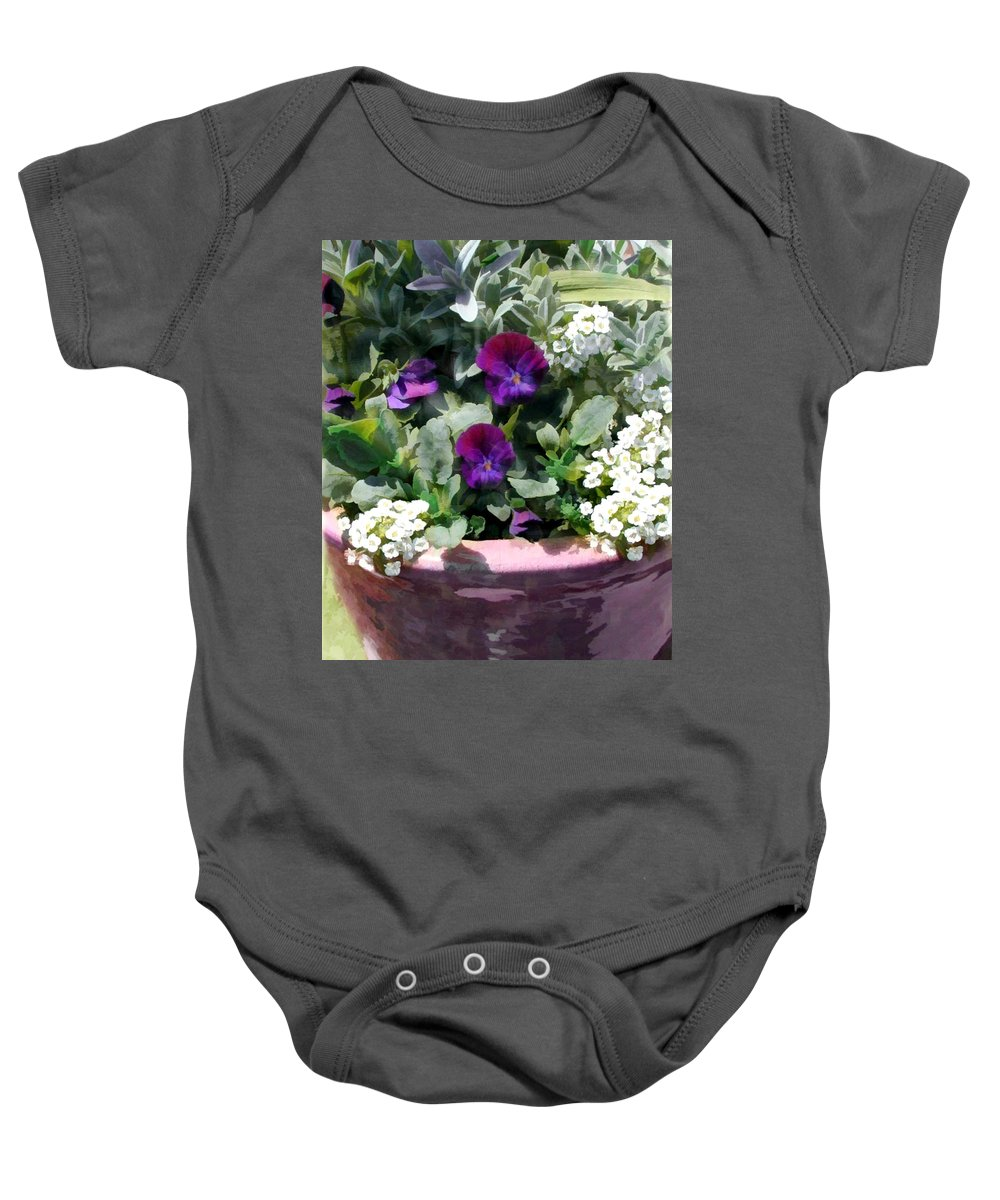 Flower Flowers Pansy Planter Alyssum Garden Flora Floral Nature Natural Pansies Planters Pot Purple White Baby Onesie featuring the painting Planter Of Purple Pansies And White Alyssum by Elaine Plesser