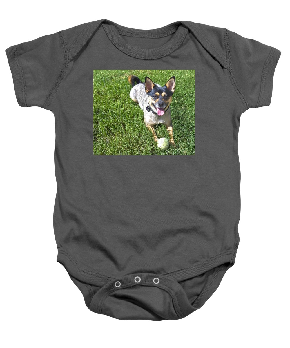 Dog Baby Onesie featuring the photograph Please Play Fetch by Susan Leggett