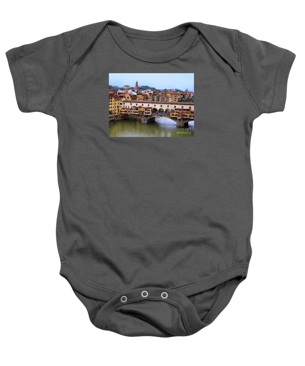 Ponte Vecchio Baby Onesie featuring the photograph Ponte Vecchio From Uffizi by Jennie Breeze