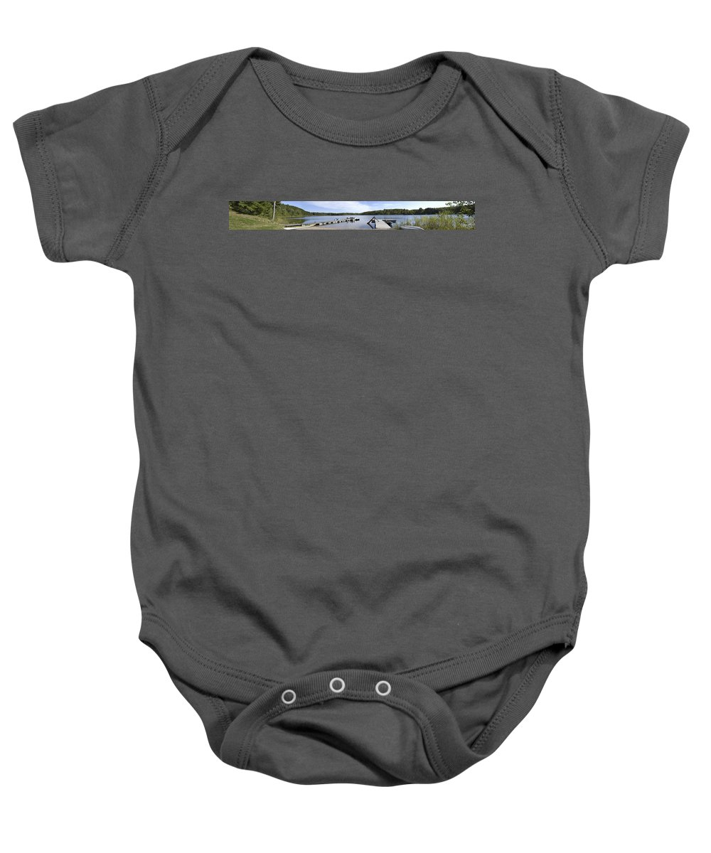 Americas Baby Onesie featuring the photograph Portage Lake Panorama by Roderick Bley