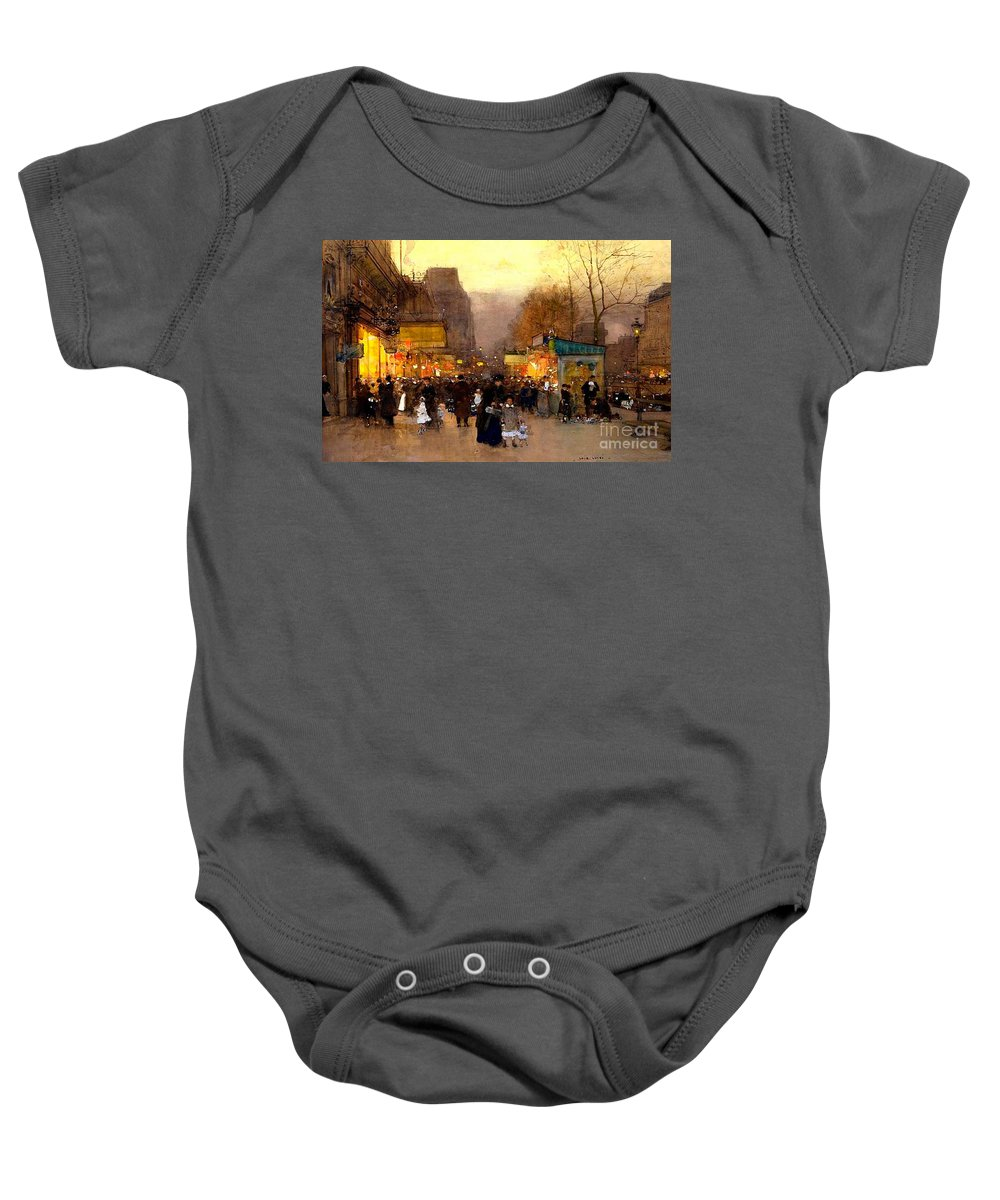 The Top Of The Monumental Arch Itself Baby Onesie featuring the painting Porte St Martin At Christmas Time In Paris by Luigi Loir