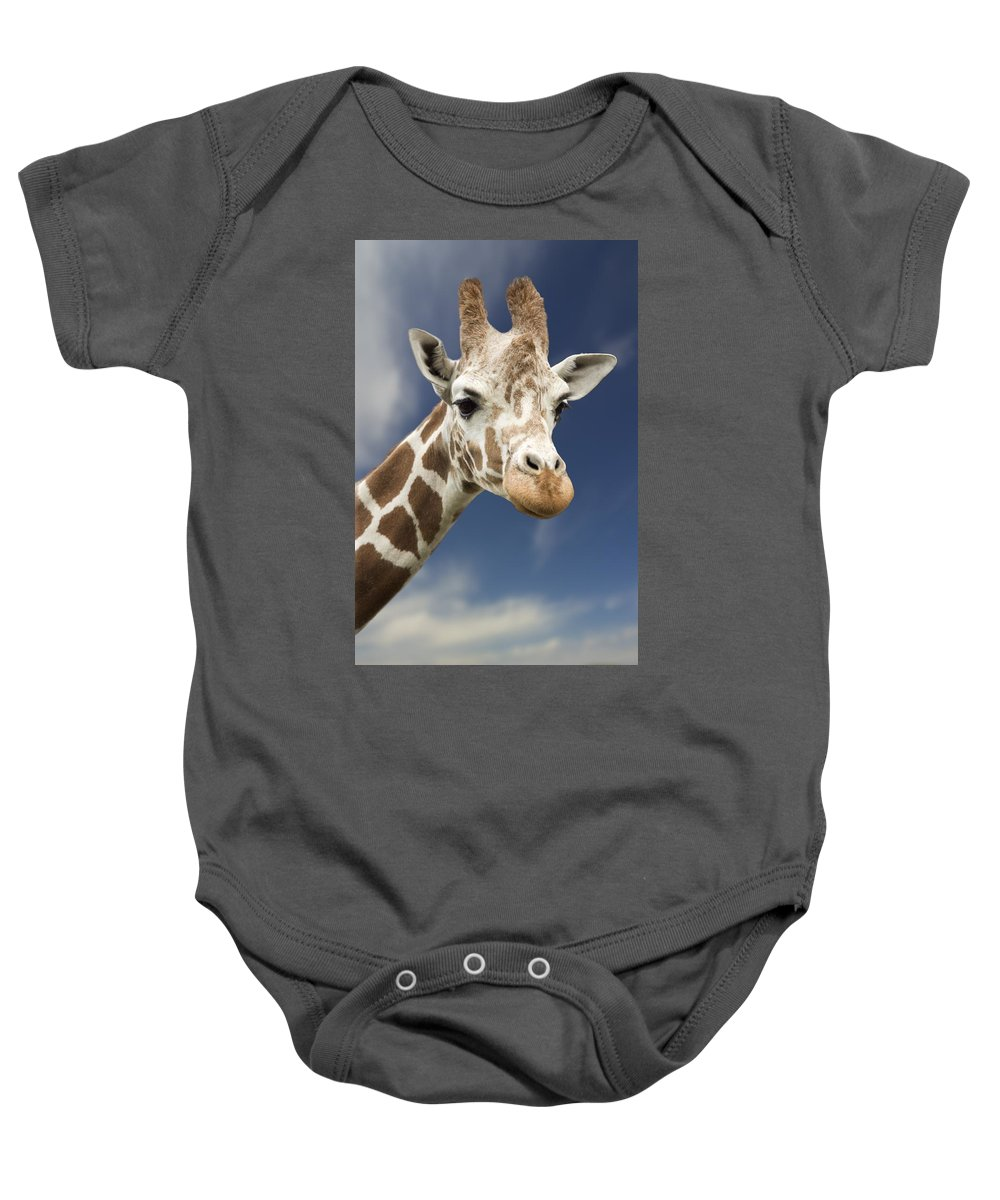 Animal Baby Onesie featuring the photograph Portrait Of A Single Giraffe by Darren Greenwood