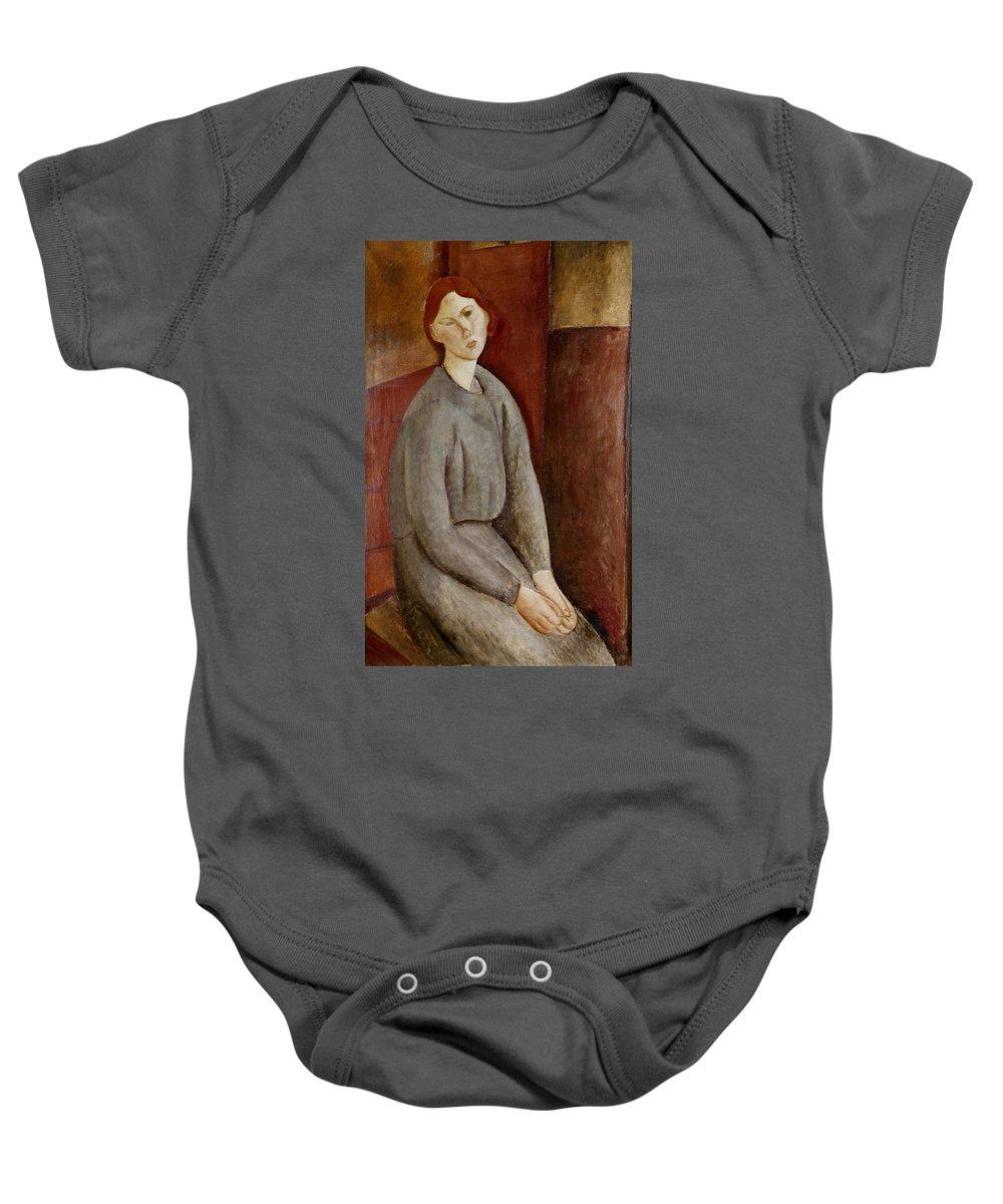 Portrait Baby Onesie featuring the painting Portrait Of Annie Bjarne by Amedeo Modigliani