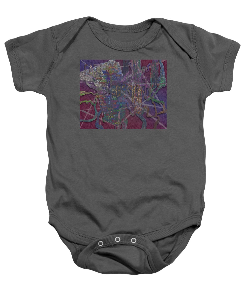 Virtual Shattered Glass Baby Onesie featuring the painting Power Words by Douglas Christian Larsen