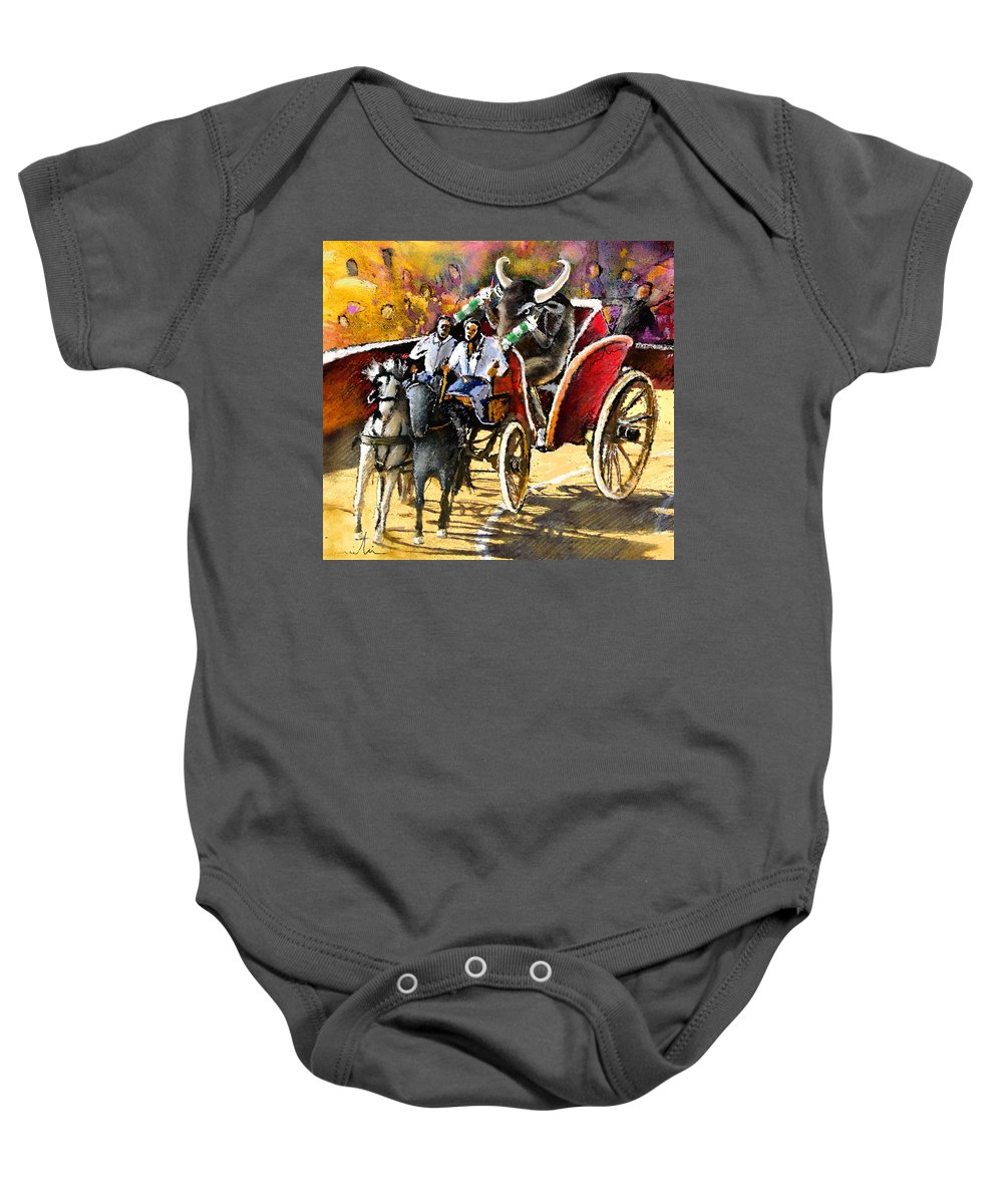Bulls Baby Onesie featuring the painting Proba Bull Cause by Miki De Goodaboom
