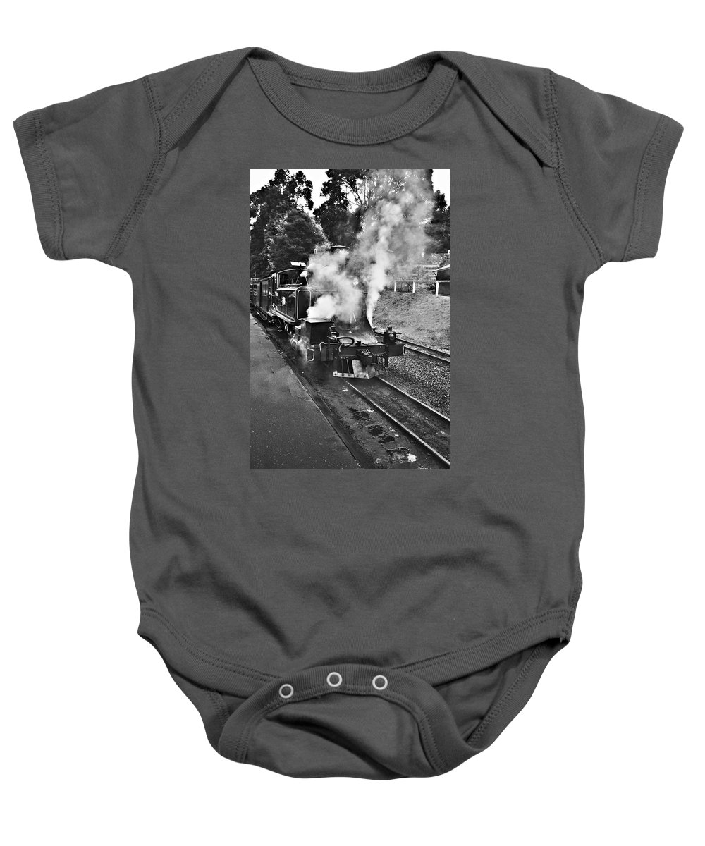 Puffing Billy Baby Onesie featuring the photograph Puffing Billy Black And White by Douglas Barnard