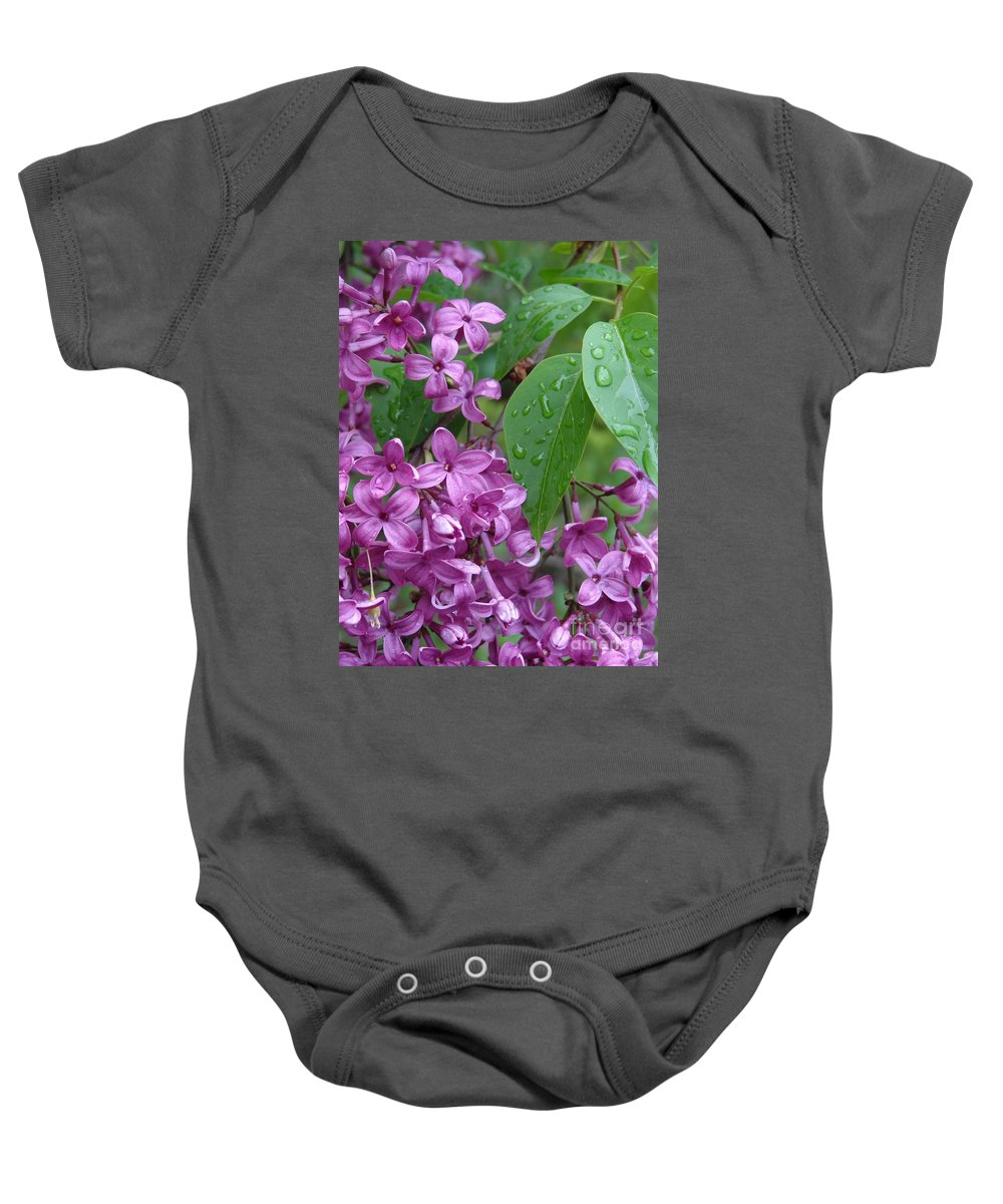 Purple Lilac Baby Onesie featuring the photograph Purple Lilac by Laurel Best