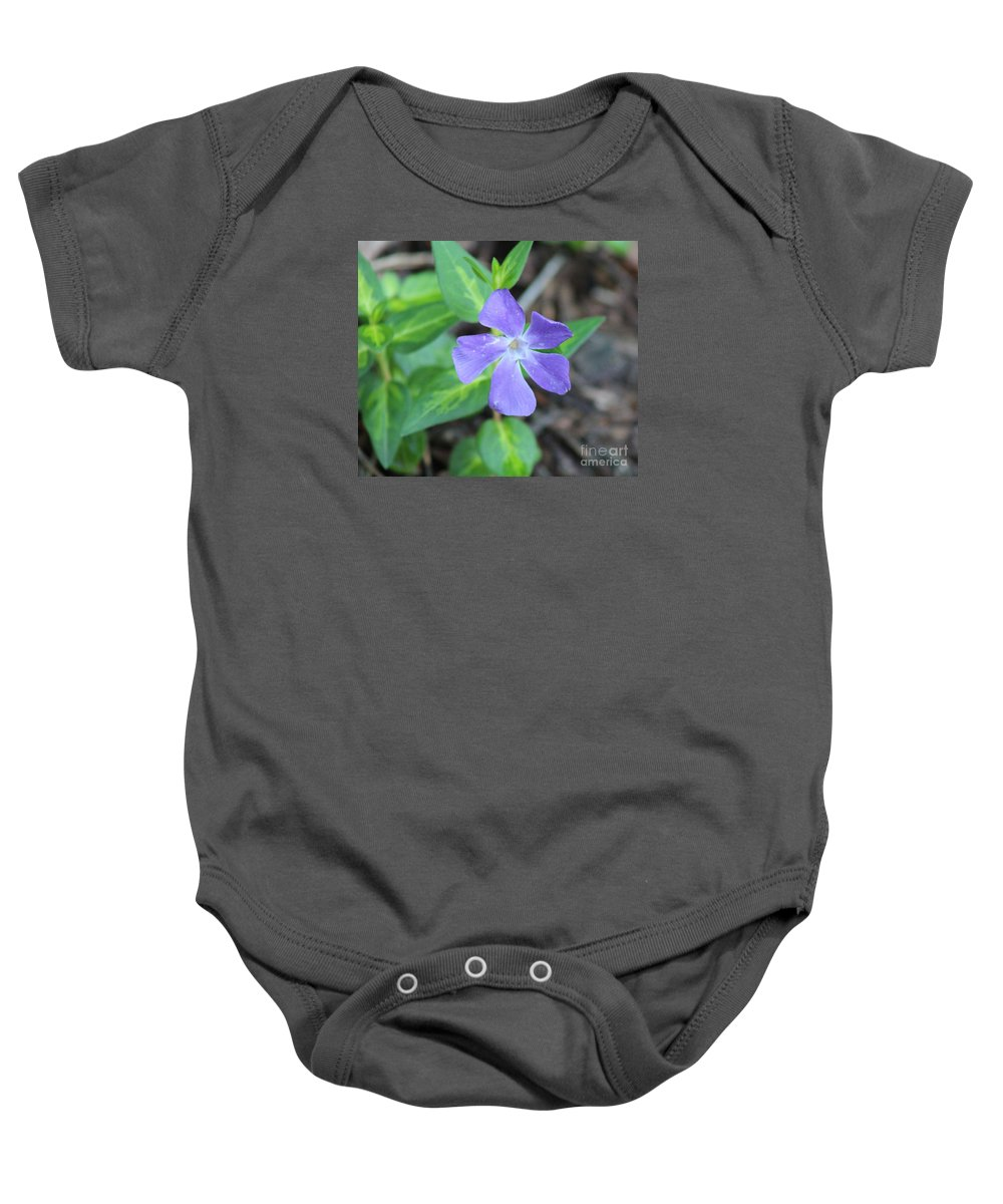 Purple Vinca Baby Onesie featuring the photograph Purple Vinca by Stephanie Kripa