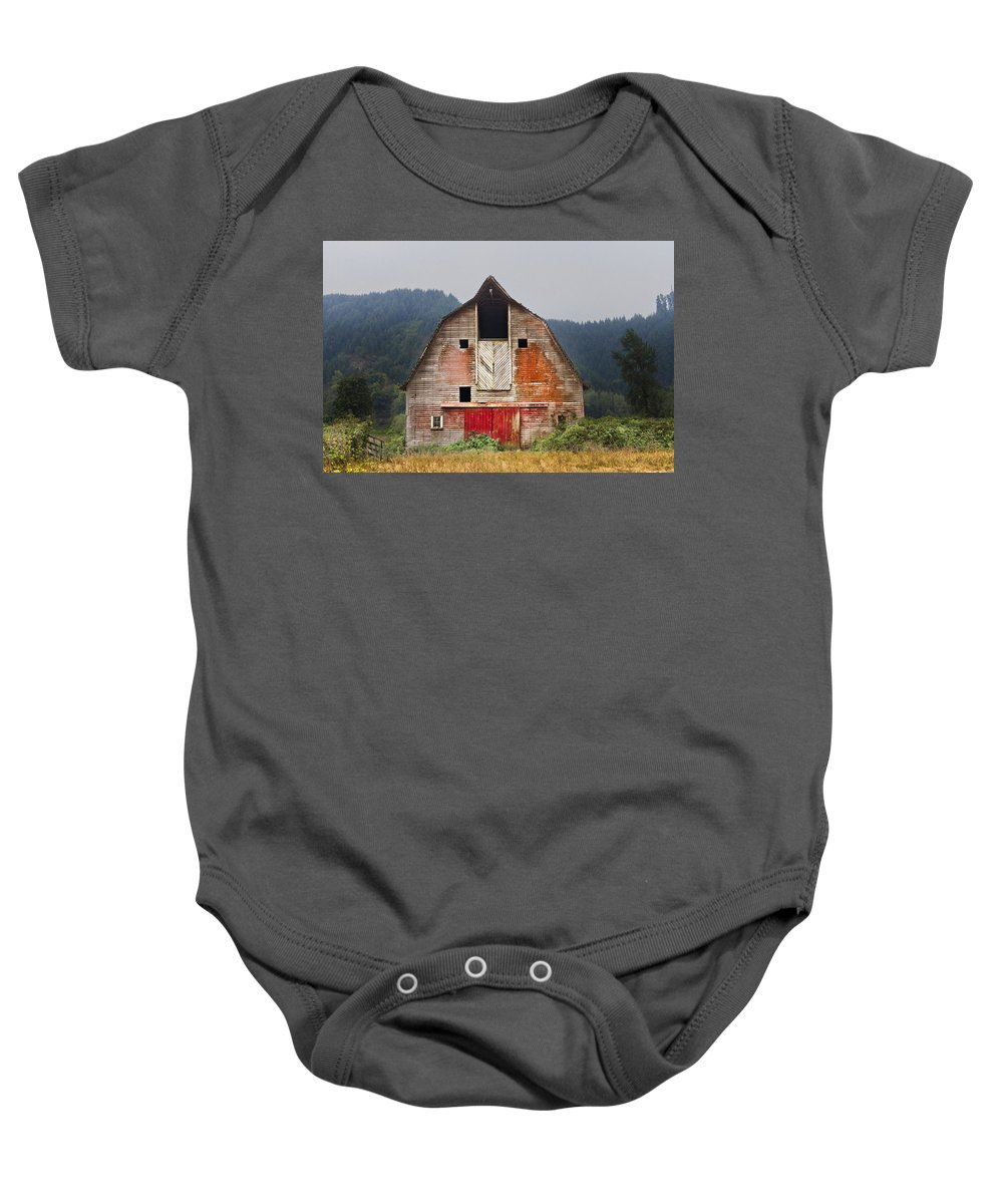 Barn Baby Onesie featuring the photograph Put On A Happy Face by Debra and Dave Vanderlaan