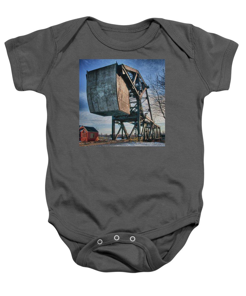 Bridges Baby Onesie featuring the photograph Railroad Bridge 10615c by Guy Whiteley