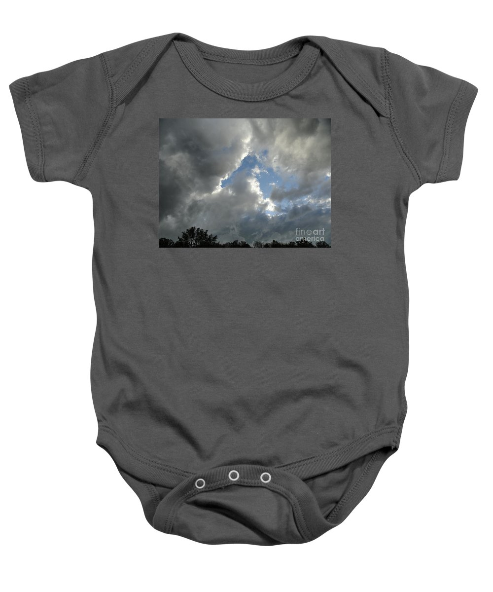 Clouds Baby Onesie featuring the photograph Rain Or Shine by Trish Hale