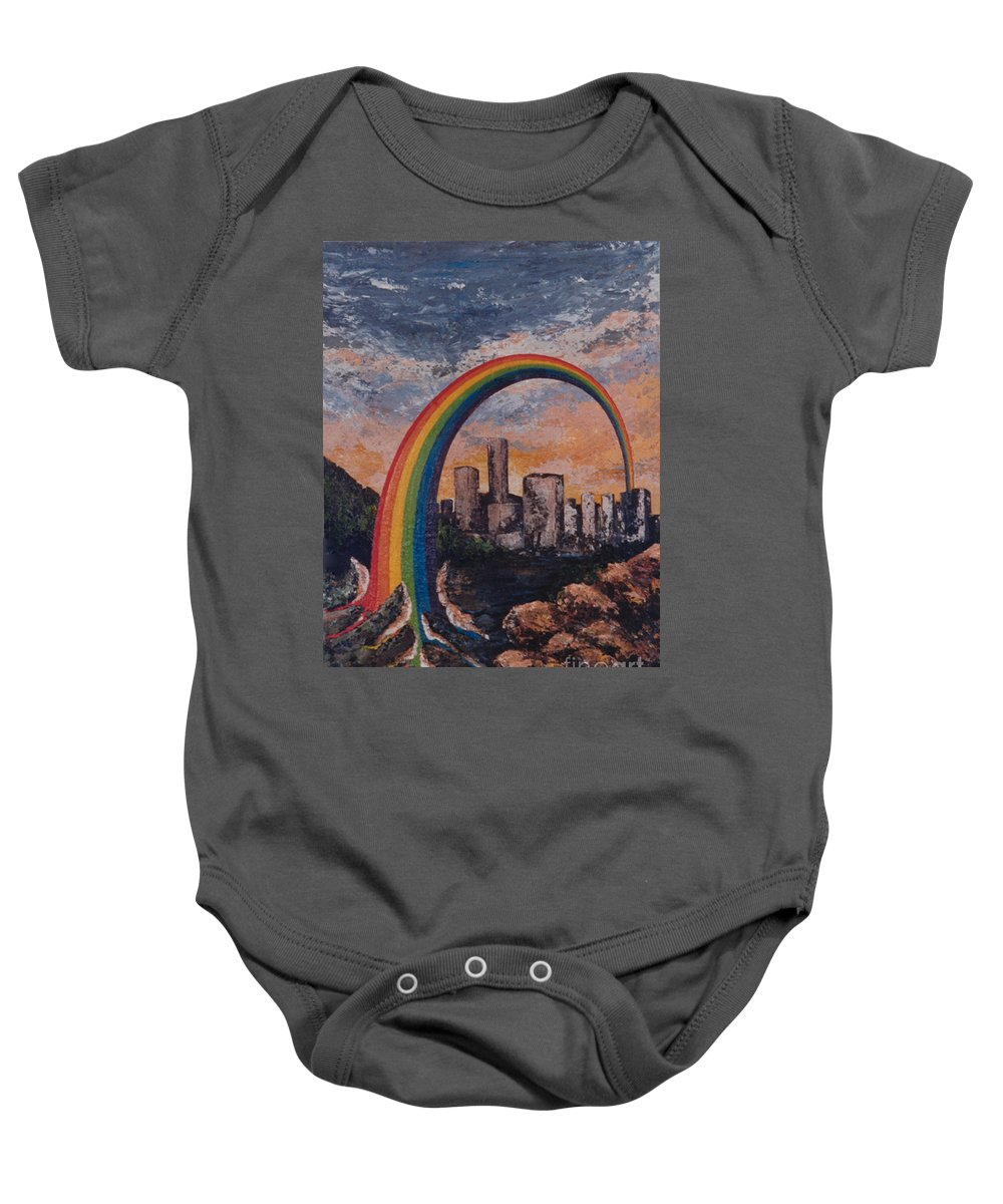 Rainbow Baby Onesie featuring the painting Rainbow by Eva-Maria Di Bella