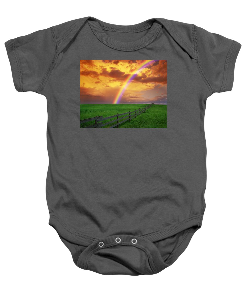 Color Image Baby Onesie featuring the photograph Rainbow In Country Field With Gold by Don Hammond