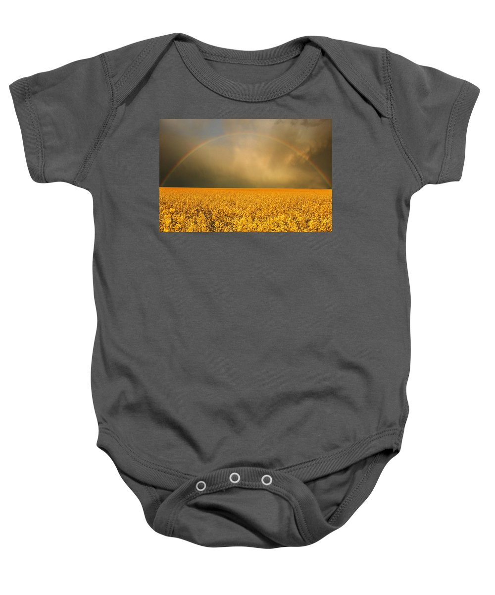 Cloud Baby Onesie featuring the photograph Rainbow Over Farmers Field by Don Hammond