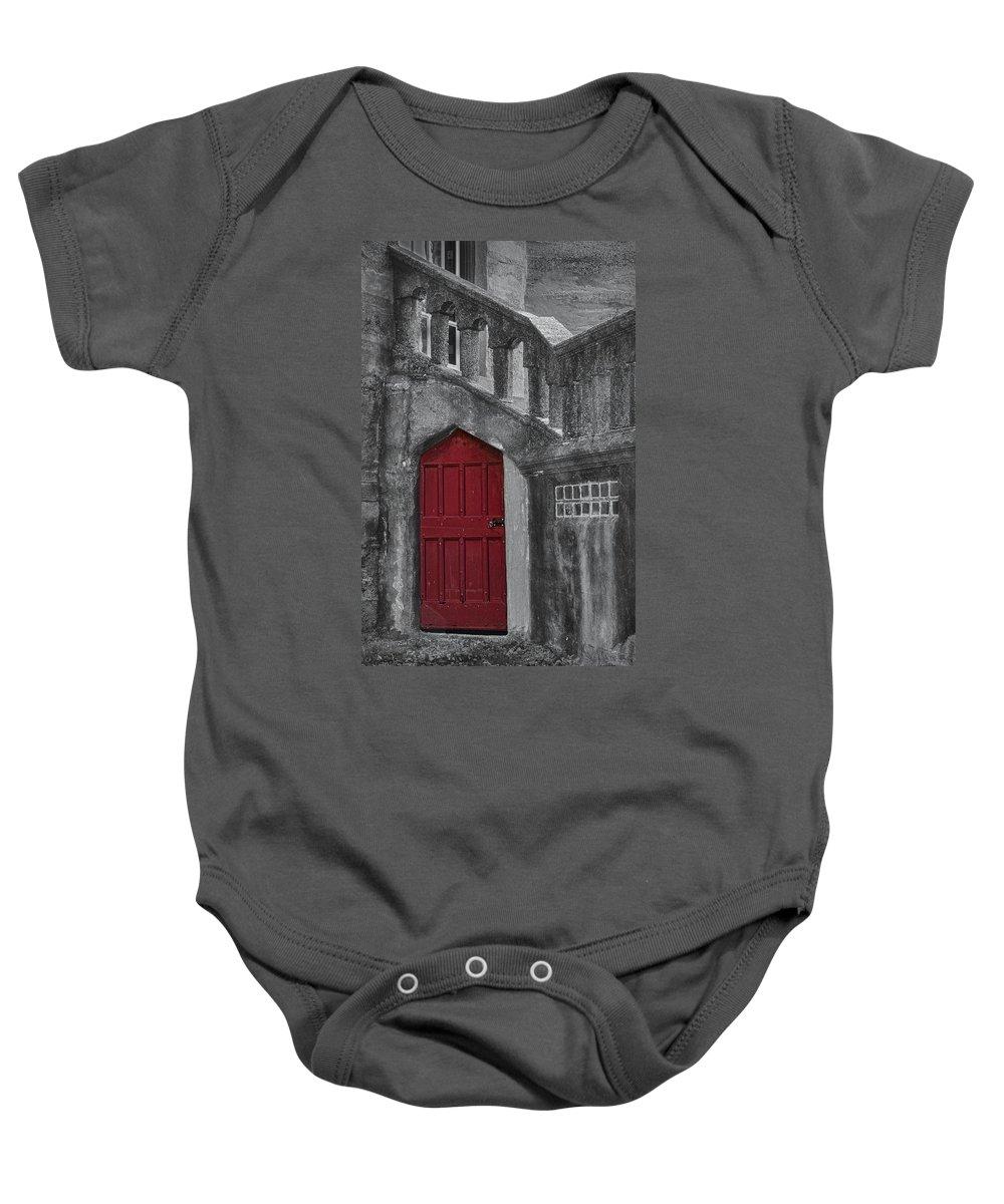 Red Door Baby Onesie featuring the photograph Red Door by Susan Candelario