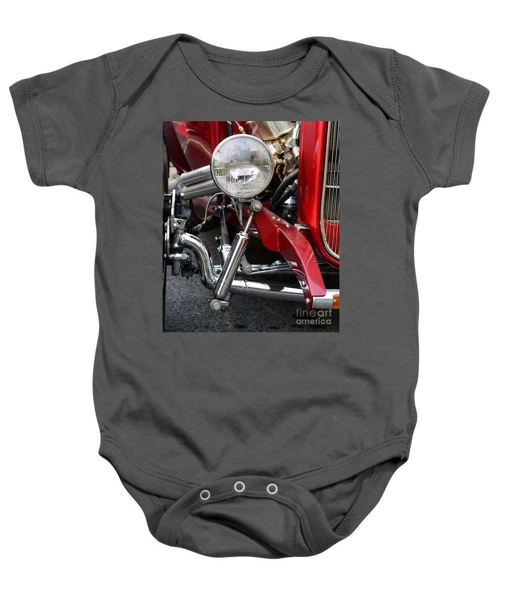 Chrome Baby Onesie featuring the photograph Red Hot Rod- Light And Chrome by Paul Ward